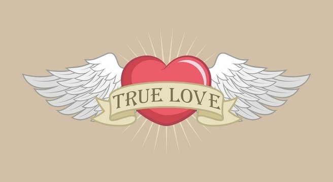 Heart with wings and a banner with text. Color illustration on the theme of love and romance. Valentine's Day