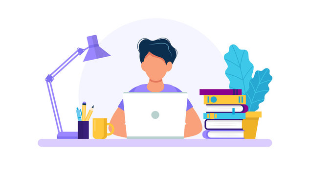 Man with laptop, studying or working concept. Table with books, lamp,  coffee cup. Vector illustration in flat style - Buy this stock vector and  explore similar vectors at Adobe Stock | Adobe Stock