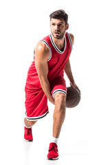 bearded athletic basketball player in uniform with ball Isolated On White