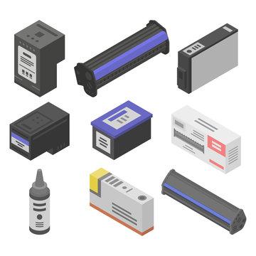 Cartridge icons set. Isometric set of cartridge vector icons for web design isolated on white background