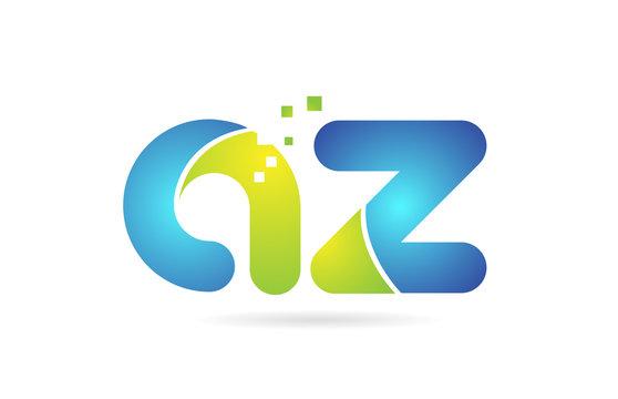 az a z blue green combination alphabet letter logo icon design