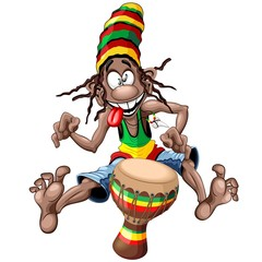 Zelfklevend Fotobehang Draw Rasta Bongo Musician funny cool cartoon character vector illustration