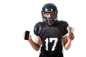 yelling American Football player with smartphone and money Isolated On White