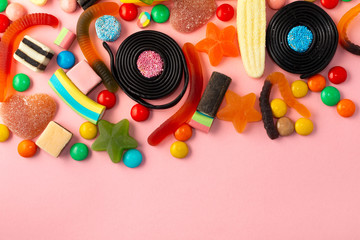beautiful colourful festive sweets and candies,  copy space