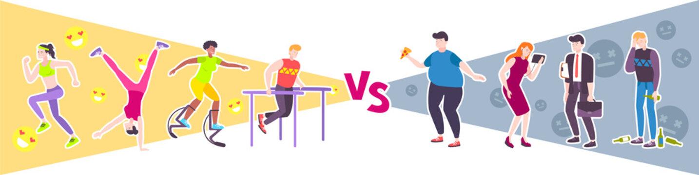 Sport vs Lazy Design Concept
