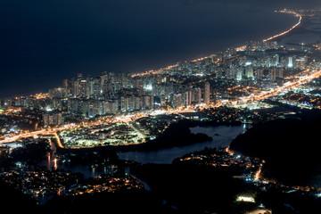 Wall Mural - Aerial Night View of Barra da Tijuca Neigborhood in Rio de Janeiro, Brazil