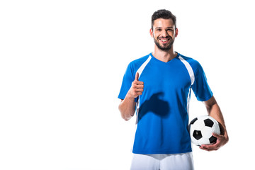 happy soccer player with ball showing thumb up Isolated On White Wall mural