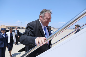 U.S. Secretary of State Pompeo boards his plane for travel to Thailand from Joint Base Andrews