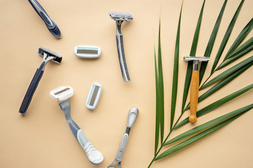 ecological lifestyle concept. plastic and eco- friendly razor s