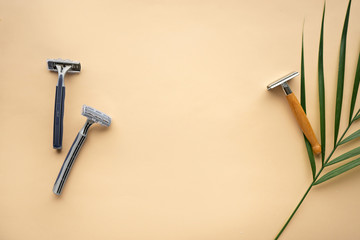 ecological lifestyle concept. plastic and eco- friendly razor