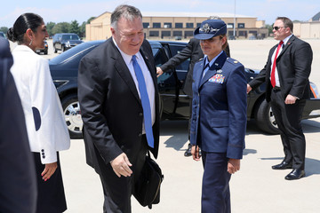 U.S. Secretary of State Pompeo arrives to board his plane for travel to Thailand from Joint Base Andrews