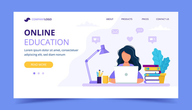 Online education landing page with a girl studying with computer. Vector illustration in flat style