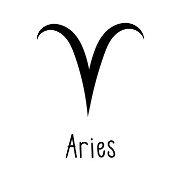 Aries astrological zodiac sign isolated on white background. Simple horoscope icon, astrology logo. Vector illustration.