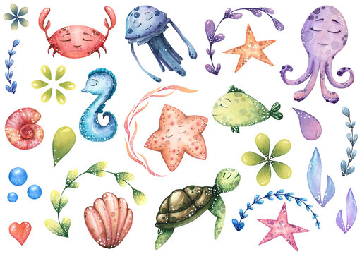 big set of watercolor marine illustrations with sea animals and abstract elements