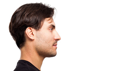Side view of a handsome young man facial portrait isolated on a white background Fototapete