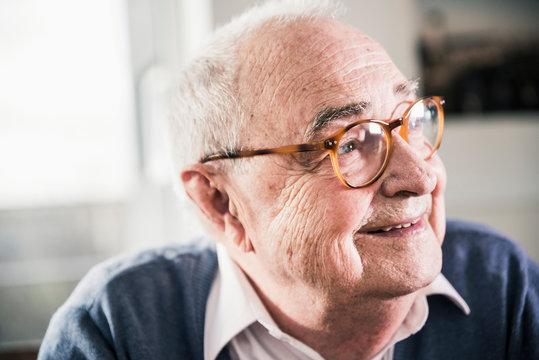 Close up of smiling senior man