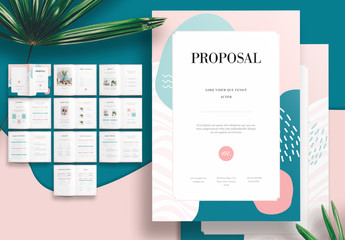 Minimalist Proposal Brochure Layout with Green and Pink Accents