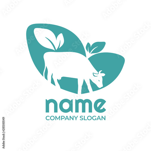 Vector illustration with cow and leaves  Agro, milk sign