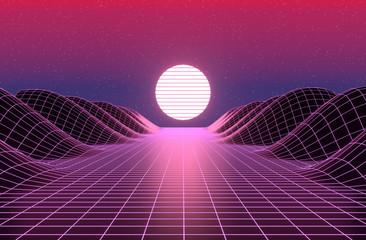Papiers peints Grenat Neon 80s styled , vintage retro game landscape 3d rendering