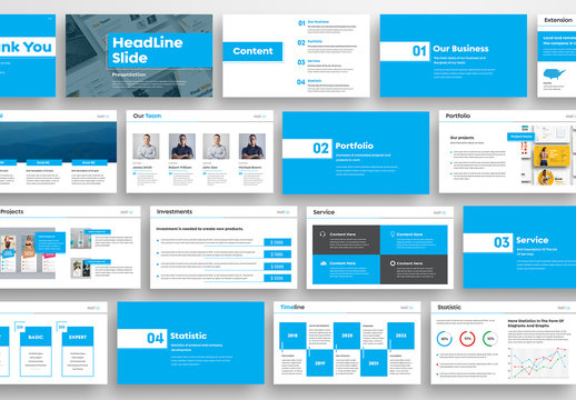 Modern Presentation Layout with Blue Elements