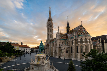 Sunset over the famous Matthias Cathedral in Budapest