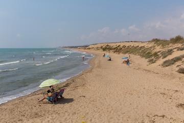 Beach view from Faro del Puerto north of Guardamar del Segura Costa Blanca Spain near to Marina de las Dunas