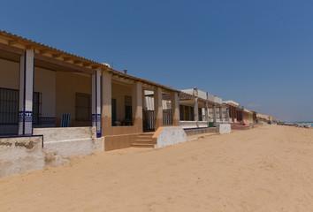 Playa Babilonia Guardamar de Segura Costa Blanca old town with houses on the sandy beach