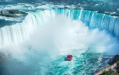Niagara Falls boat tours attraction. Horseshoe Falls at Niagara Falls, Ontario, Canada Wall mural