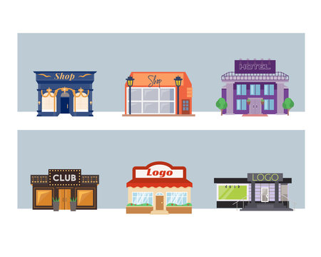Vector set of flat buildings (storefronts). Colorful and bright street with shops and lights in different style.