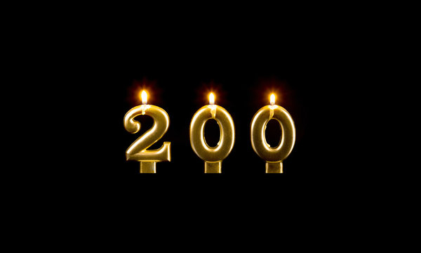 Composition of burning golden candles on black background, number 200, birthday concept.