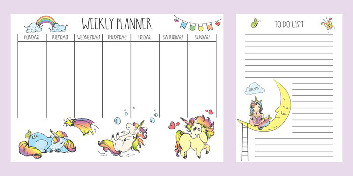 Weekly planner and to do list with cute hand drawn unicorns,adorable fairy tail  animals