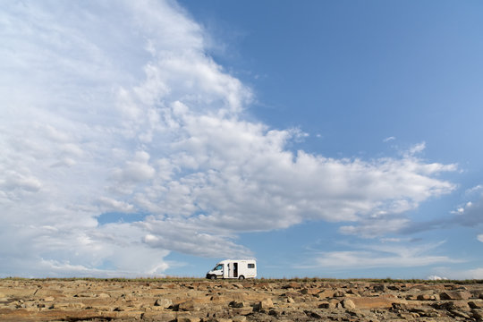 A mobile home beneath the vast African sky