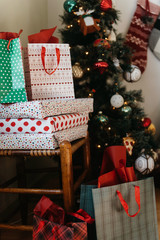 Christmas presents around the tree