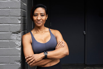 Portrait of sexy female athlete.