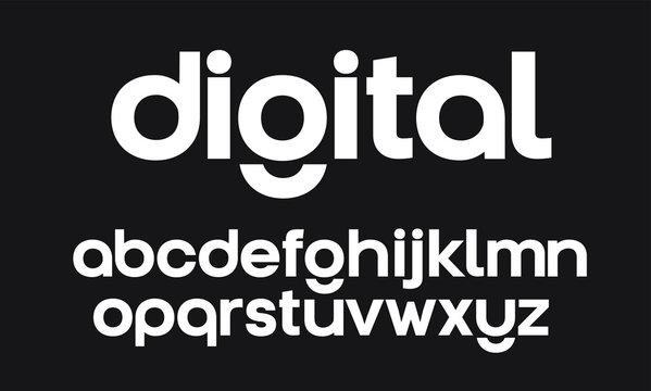 Modern, digital geometric vector font. Full alphabet