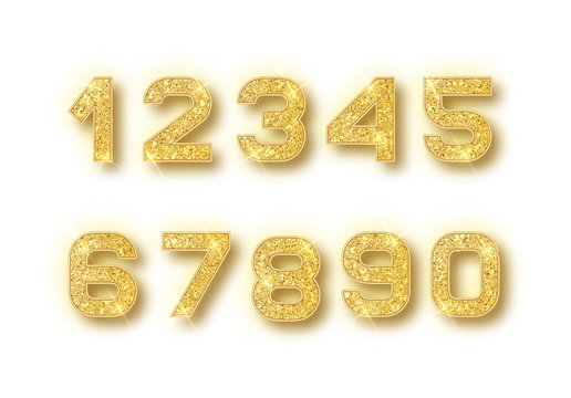 Gold glitter alphabet numbers set with shadow. Vector realistick shining golden font number 1,2,3,4,5,6,7,8,9,0 of sparkles on white background. For decoration of cute wedding, anniversary, party