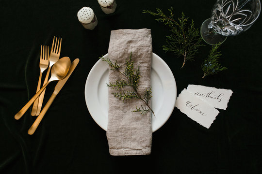 setting a holiday dinner table