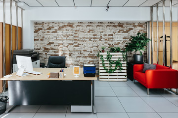 Reception Desk in Modern Trendy Coworking Office