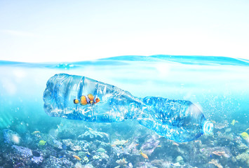 Fish trapped inside a bottle. Problem of plastic pollution under the sea concept. Wall mural