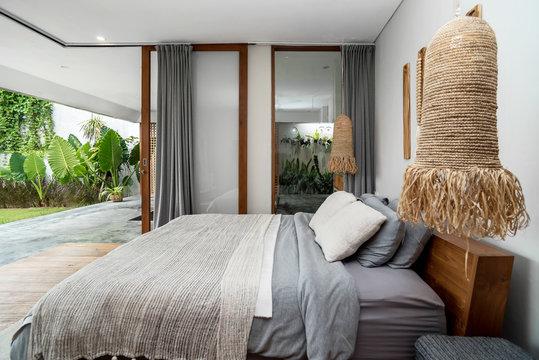 Bedroom In Modern Design open Villa