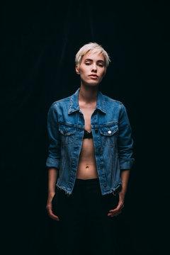 Woman Fashion Model Wearing Denim Jacket