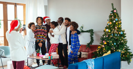 Christmas family at home.