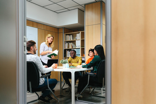 Diverse people working in stylish office