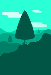 Poster Green coral vector illustration of a landscape new