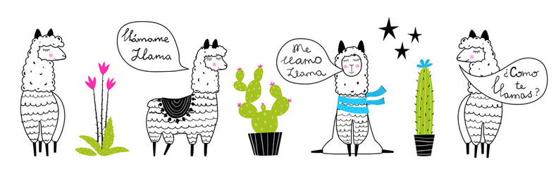 Llamas and cactus outline set hand drawn trendy cartoon design.