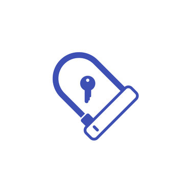 Bike lock vector icon on white