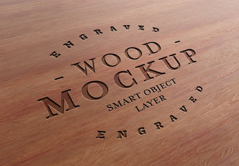 Engraved Wood Text Effect Mockup