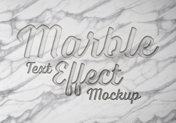 Engraved Marble Text Effect Mockup