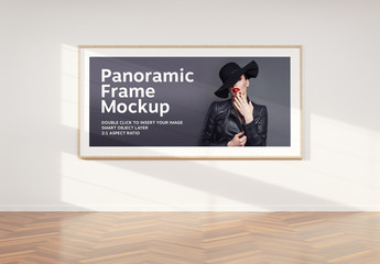 Wide 2:1 Panoramic Frame on Wall Mockup