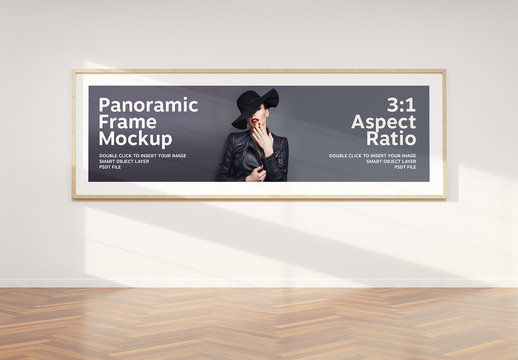 3:1 Super Panoramic Frame on Wall Mockup
